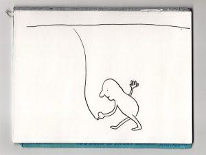 抽象的な平面に1本の線を引く人