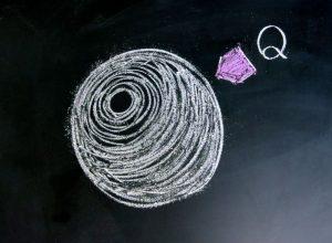 アルファベット「Q」から球体に矢印が向かっているイラスト