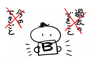 イラスト「過去や今のできごと」ではなく「B」