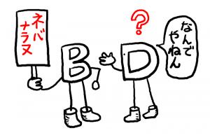イラスト「Bにツッコミを入れるD」
