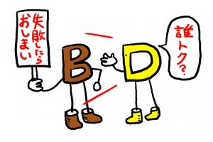 イラスト「Bに『誰トク?』とツッコムD