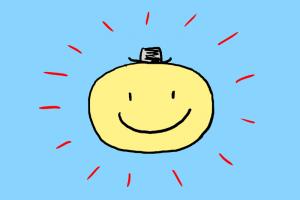 イラスト「大きく、晴れやかな笑顔」