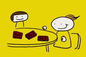 イラスト。目の前のテーブルにチョコ