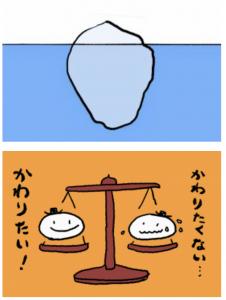 イラスト「氷山と天秤」