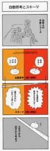 4コマ漫画「自動思考とスキーマ」