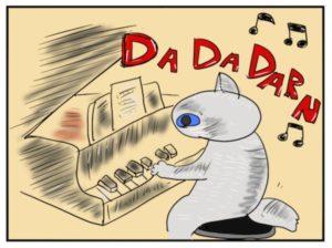 イラスト。猫がピアノを弾いている。