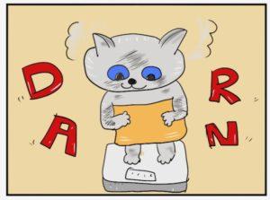 イラスト。体重計に乗る猫。