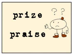 英単語 prizeとpraiseがでてくるイラスト