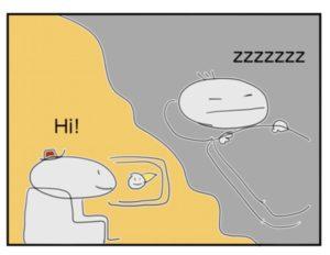 英会話の勉強と睡眠を対比したイラスト
