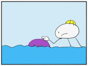 ビーチボールを水に鎮めようとするイラスト
